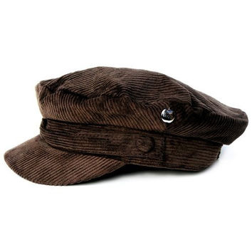 Official The Beatles John Lennon Corduroy Breton Sterkowski style cotton Cap Hat (XL, Brown)