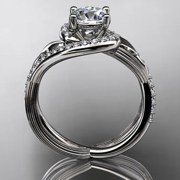 Unique 14kt  white gold diamond leaf and vine wedding ring,engagement ring ADLR222