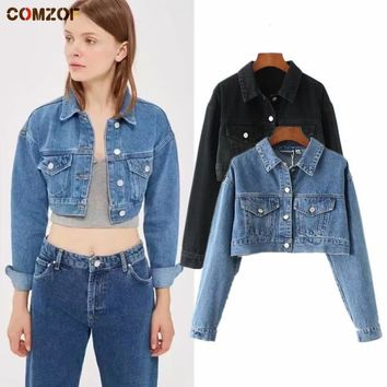Trendy Autumn newest women denim jacket long sleeve crop top coats womens Europe and America short jeans jackets casaco feminino AT_94_13