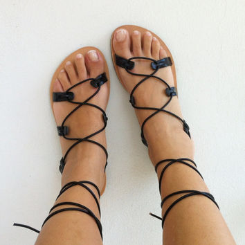 gladiator sandals, leather sandals, black gladiator sandal, lace up sandal