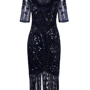 Vintage 1920s Dresses Floary Beaded Cocktail Flapper Dress with Sleeves Gatsby Party