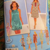 SALE Uncut Simplicity Sewing Pattern, 0610! 4-20 Small/Medium/Large/Plus/Women's/Misses/Project RunWay Couture Dresses/Hippie Casual