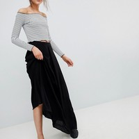 ASOS DESIGN crinkle maxi skirt with box pleat at asos.com