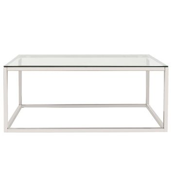 Rectangular Stainless Steel Coffee Table - Clear