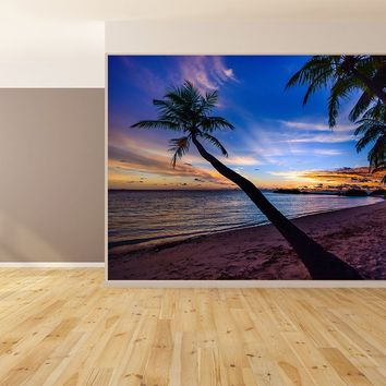 Beach Palm Trees Textured Wallpaper Peel and Stick Stucco-Crushed Stone-Pure Canvas