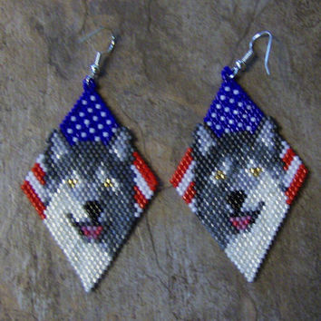 Wolf With Flag Earrings Hand Made Seed Beaded Native Inspired