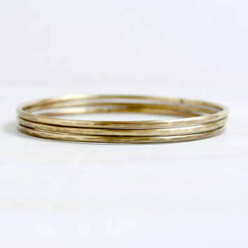 Gold Brass Metal Stacking Bangles Bohemian Minimalist Jewelry Handcrafted Layering Bracelets