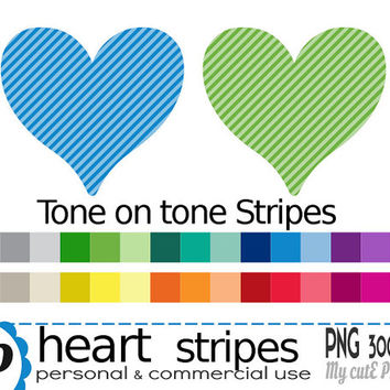 Heart oblique stripes  - Clipart - 30 colors - 30 PNG files - 300 dpi - Instant download - Transparent PNG-  valentine's day -CA13