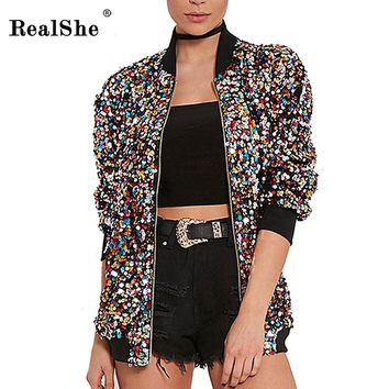 RealShe Spring Woman Windbreaker Basic Coats Women Long Sleeve Zipper Winter Bomber Jacket Women Casual Sequins Overcoat Outwear