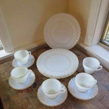 White Swirl Fire King Dish Set 1960s Gold Trim 4 Plates, Saucers + 5 Cups Heat Proof Fire King Plates Cups Basic 13 Pc. Vintage Set