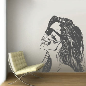 Wall Decal Vinyl Sticker Decals Art Decor Skull Tattoo girl Sunglasses Victorian Zombi Makeup Hair Salon Studio Bedroom Gift Dorm (z3121)