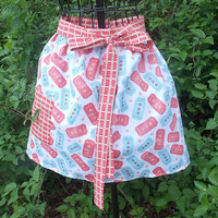 Woman's Half Apron, pocket,  long ties, red and blue, gift, women's,