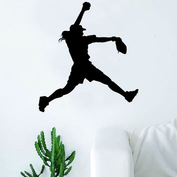 Softball Pitcher Silhouette Wall Decal Sticker Bedroom Living Room Art Vinyl Beautiful Inspirational Sports Girls Women Baseball
