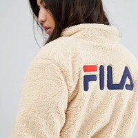 Fila Oversized Zip Through Sherpa Fleece Jacket With Back Logo at asos.com