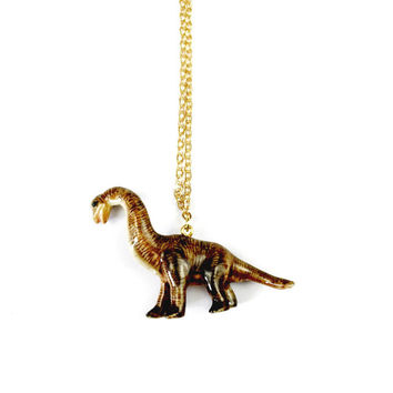 Porcelain Brachiosaurus Necklace in Gold Plated - Ceramic Jewellery, Vegan Jewellery, Animal Jewelry, Dinosaur Jewellery