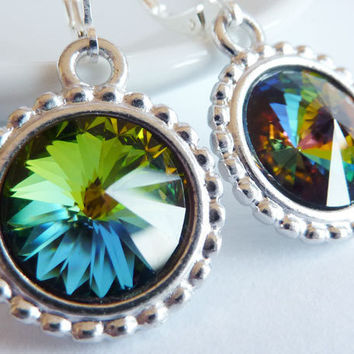 Rainbow Crystal Earrings Vitrail Crystals Drop by KittyBallistic