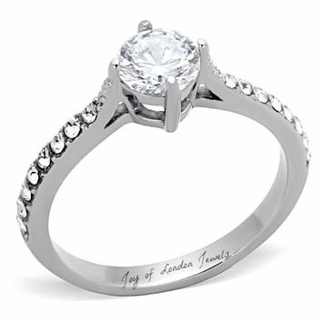 A Perfect 1CT Round Cut Solitaire Russian Lab Diamond Engagement Ring