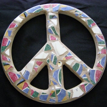 Rainbow Pottery Peace Sign, Peace Sign Wall Art, Peace Sign, Shabby Chic, Hippie