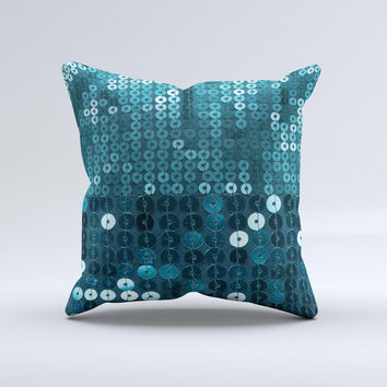 Teal Sequences  Ink-Fuzed Decorative Throw Pillow
