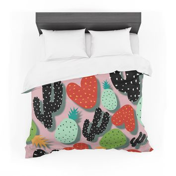 """SusanaPaz """"Cactus And Pineapples"""" Pink Black Digital Featherweight Duvet Cover"""