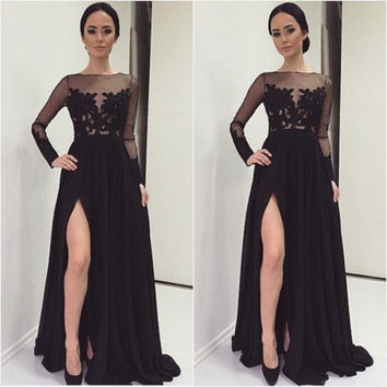 Black Lace And Chiffon Prom Dresses