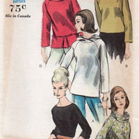 Vogue 1960s Sewing Pattern Pullover Blouse Rolled Neck Shirt Hoodie Hooded Top Raglan Sleeves Uncut Bust 34