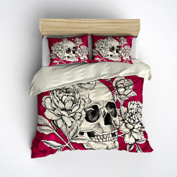 Featherweight Skull Bedding -  Deep Pink Rose Skull Printed on Cream - Comforter Cover - Sugar Skull Duvet Cover, Sugar Skull Bedding Set