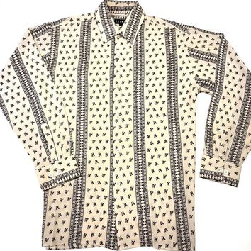 Pronti Black/Cream Micro Knit  Paisley Jacquard Long sleeve Shirt