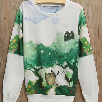 White Cat and Tree Print Long Sleeve Sweatshirt