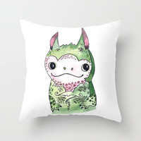 Baby Dragon Throw Pillow by wassupbrothers