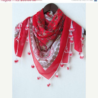 FREE Shipping..Light Pomegranate SQUARE Turkish Yemeni OYA Scarf ..bridal,authentic,elegant, fashion,