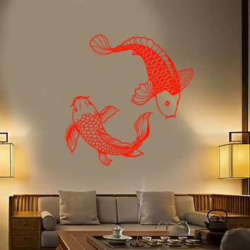 Vinyl Wall Decal Asian Style Japanese Fish Koi Karp Stickers Unique Gift (2063ig)
