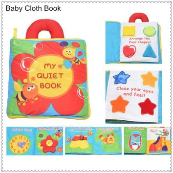 "Free shipping Hot sale ""My Quiet Book"" baby goodnight soft Cloth Book"
