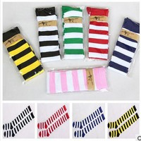 Hot New Sexy Women Girl Striped Cotton Thigh High Stocking Over the Knee Socks Fashion Stockings For Dating Cosplay Cheap