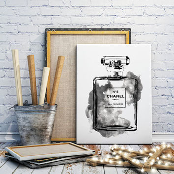 16X20 Chanel No5 water color digital art in grey smoke, Chanel Print, Fashion illustration, Gift, Wall Art, Home Decor, Coco Chanel