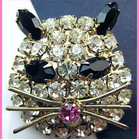 "Vintage Rhinestone Brooch Pin Black White Pink Kitty Cat Face Gold Metal 1 3/4"" VG"