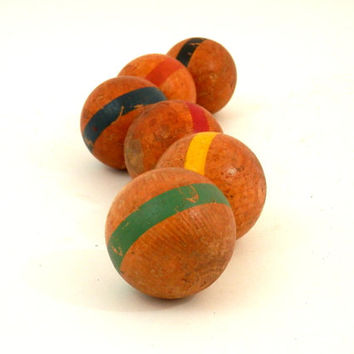 Antique Toy Croquet Balls Wooden with Bright Stripes