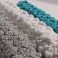 Set of 3 Cotton Textured Wash Cloths/ Dish Rags in White, Dove, and Turquoise
