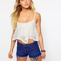 New Look | New Look Daisy Lace Hanky Hem Crop Top at ASOS