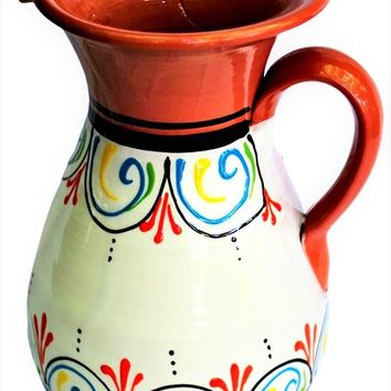 Terracotta White, 2 Quart Pitcher - Hand Painted From Spain