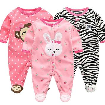 Baby and Toddler girls's 3-Pack Loose Fit Fleece Footed Pajamas