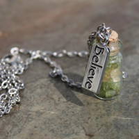 Peridot & Citrine Prosperity and Manifestation Talisman with Believe Charm on Silver Finish Chain