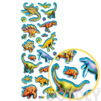 Colorful Dinosaur Raptors Triceratops Stegosaurus Shaped Prehistoric Animal Themed Stickers in Blue