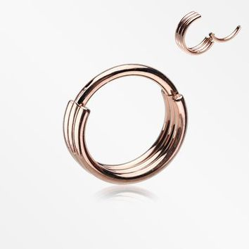 Rose Gold Triple Stack Hinged Steel Segment Clicker Ring