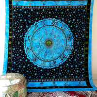 QUEEN astrology tapestry, hippie bohemian wall hanging tapestries, indian bedspread bedding throw , ethnic zodiac wall decor art