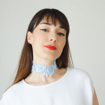 Lace Choker Summer Trends Bridal Blue Necklace Statement Necklace Gold Necklace Summer Fashion Accessory Gift For Her  / VICERO