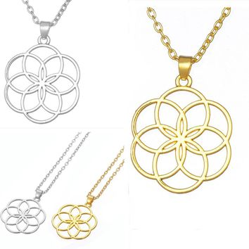 Seed And Flower Of Life Yoga Jewelry Sacred Geometry Boho Jewelry Mandala Pendant Necklace Bohemian
