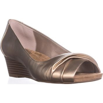 GB35 Rivey Peep Toe Wedge Pump Sandals, Oro, 7 US