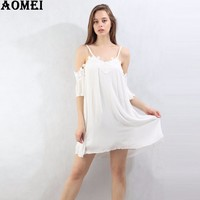 White Lace Linen Slip Dress Women Fashion Summer Beach Wear Clothing Tunics Girls Lolita Mini Bohemian Femme Robes