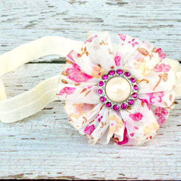 Girls Flower Headbands... Baby Headbands... Vintage Style Headbands... Newborn Photography Props